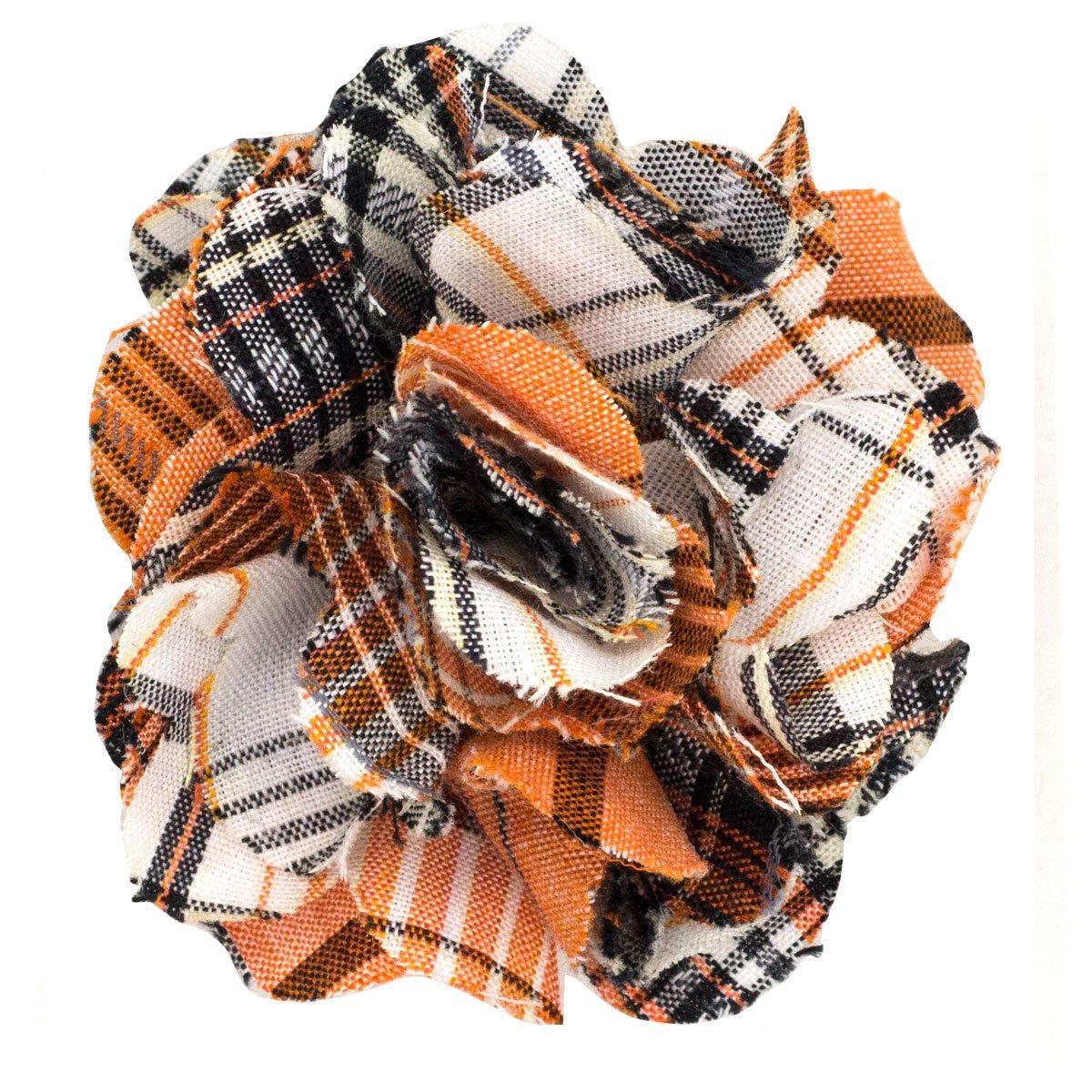 Cotton Lapel Flower . Orange and Tan Plaids