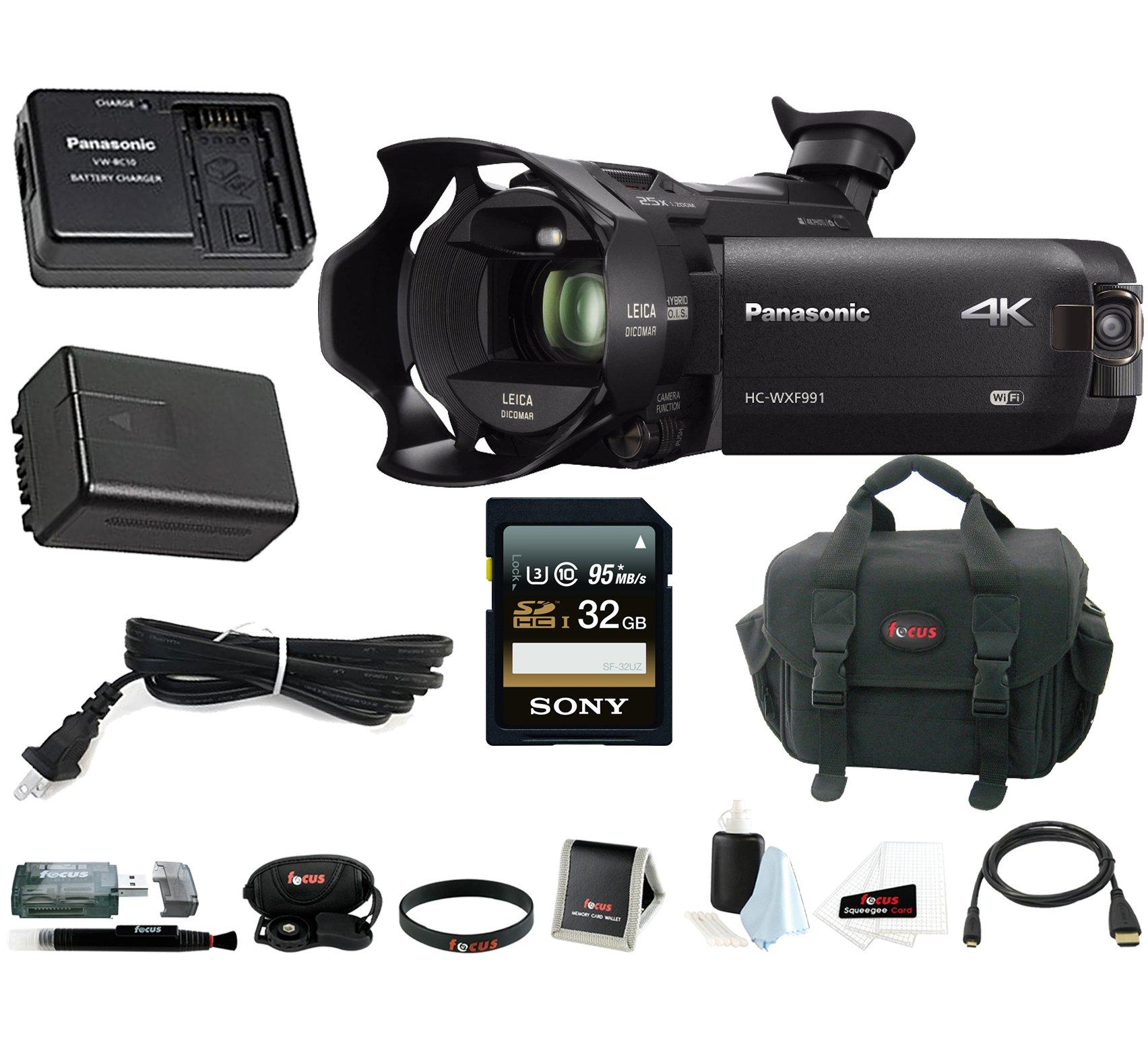 Panasonic HC-WXF991K 4K Ultra HD Camcorder with Twin Camera, Panasonic Power Pack (VW-PWPK) + 32GB Acc Kit by Panasonic