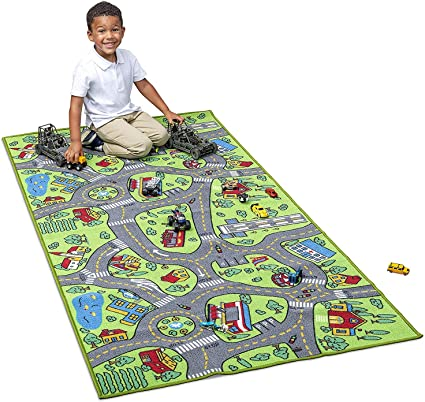 Multi Color Area Play Mat Rug Great for Playing with Cars Bedroom Playroom Kids Carpet Extra Large 80 x 40 Playmat City Life Learn /& Have Fun Safe Road Traffic System Childrens Educational