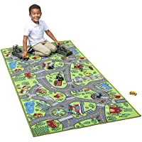 "Kids Carpet Extra Large 80"" x 40"" Playmat City Life - Learn & Have Fun Safe! Children's Educational, Road Traffic System, Multi Color, Play Mat Rug Great for Playing with Cars, Bedroom Playroom, Area"