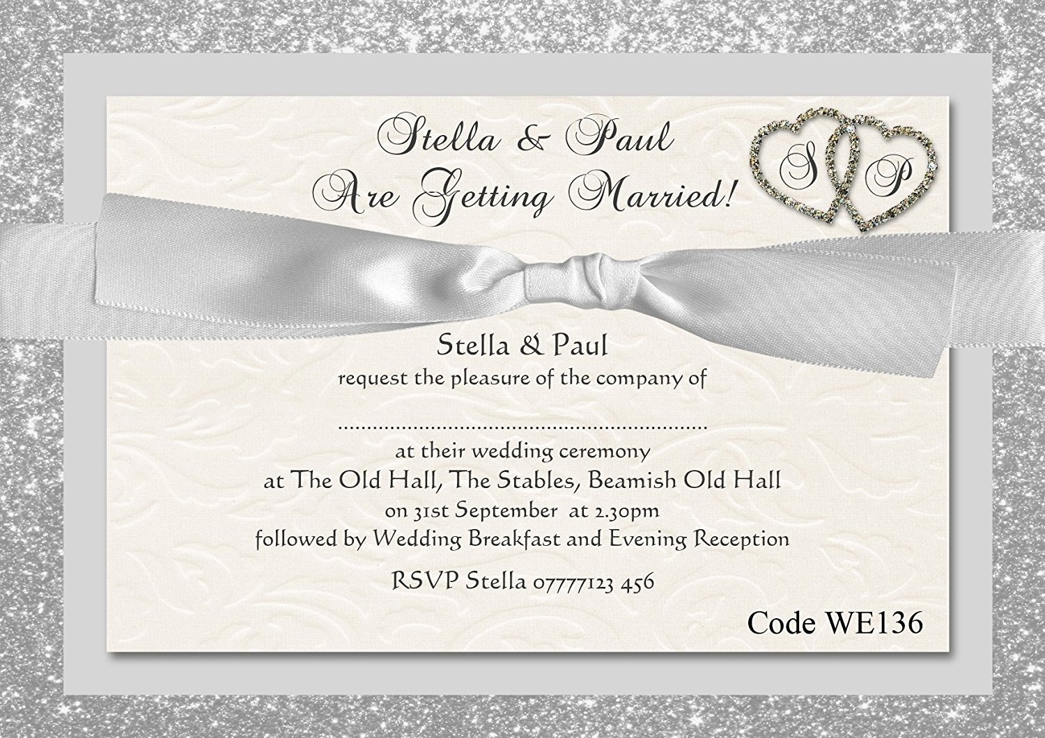 The Invite Factory Personalised Wedding Day or Wedding Evening ...