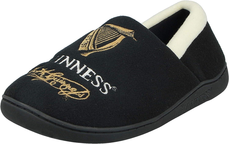 Guinness Mens Official Signature Fleece Ale Ireland Novelty Plush Full Back Slip On Moccasin Slippers Size 7-12