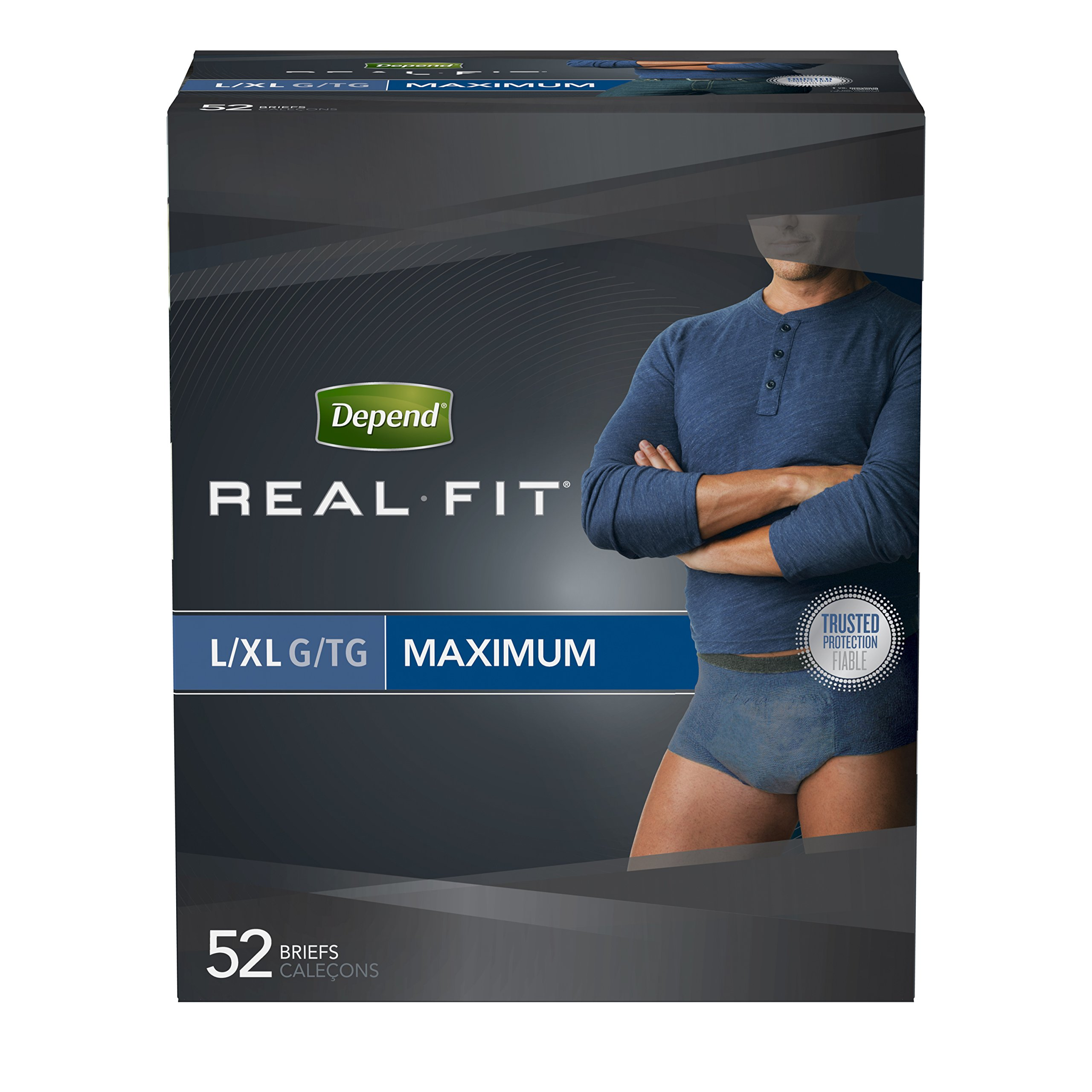 Depend Real Fit Incontinence Briefs for Men, Maximum Absorbency, L/XL, blue 2 PACK (52 Count) DNGH