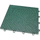 IncStores Outdoor Patio Interlocking Rugged Grip-Loc Tiles - 4 Pack - Evergreen