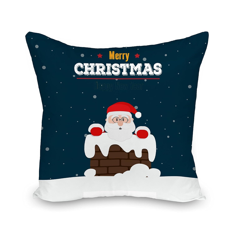 Adam Linens 100% Cotton Printed Christmas Festive XMAS Design Cushion Cover Flying Deer Red Adam' s