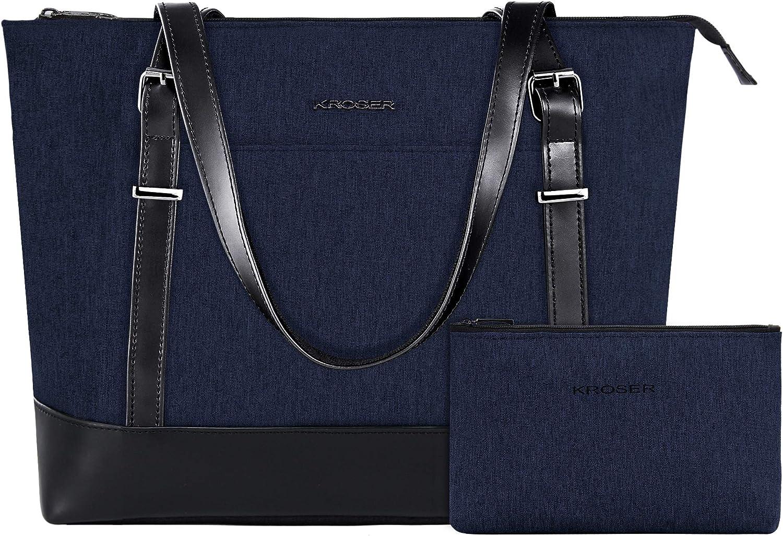 KROSER Laptop Tote Bag 15.6 Inch Large Shoulder Bag Lightweight Water-Repellent Women Stylish Handbag for Work/Business/School/College/Travel-Dark Blue
