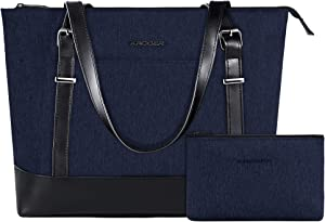 KROSER Laptop Tote Bag 15.6 Inch Large Shoulder Bag Lightweight Water-Repellent Women Stylish Handbag for Work/Business/School/College/Travel-Dark Blue