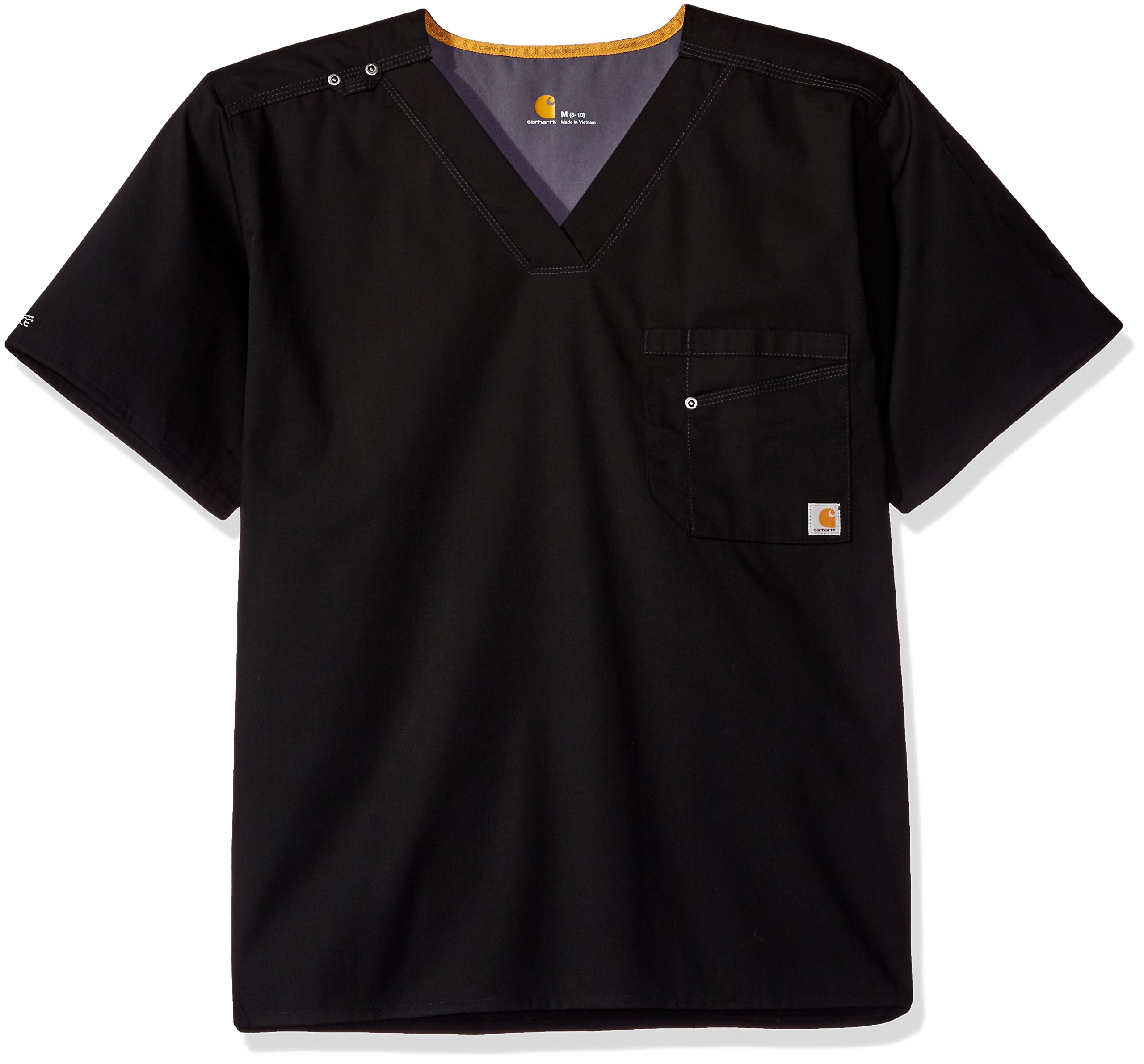 Carhartt Men's Rockwall V-Neck Scrub Top, Black, Medium