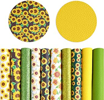 Pllieay 10 Pieces Sunflowers Printed Faux Leather Sheet Glitter PU Synthetic Leather Sheet for Earrings Headbands Making (8.2 x 6.3 inch)