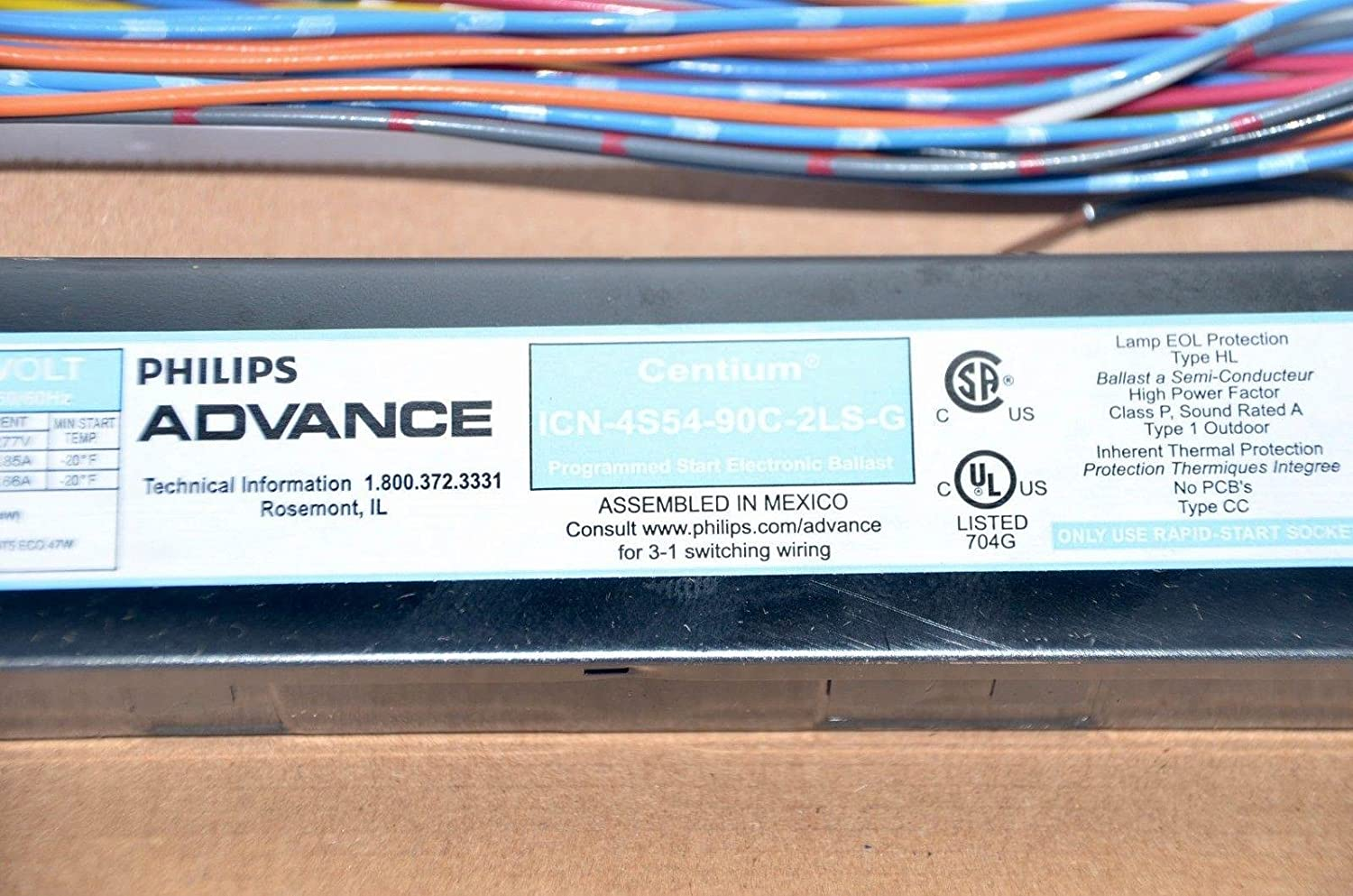 Philips Advance Icn4s5490c2lsg 4 Lamp T5 Ballast Wiring Fluorescent 54wt5 Ho 120 277v 20c To 90c Home Improvement