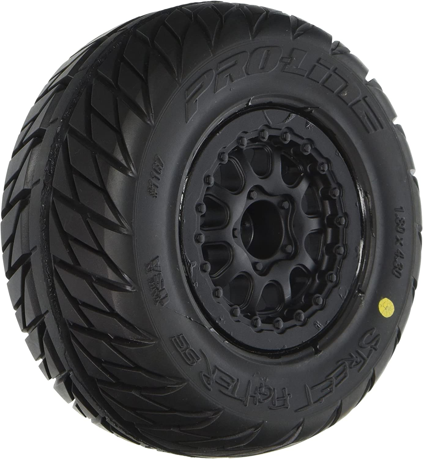 """Pro-Line Racing 1167-17 Street Fighter SC 2.2""""/3.0"""" Tires Mounted on Renegade Black Wheels"""