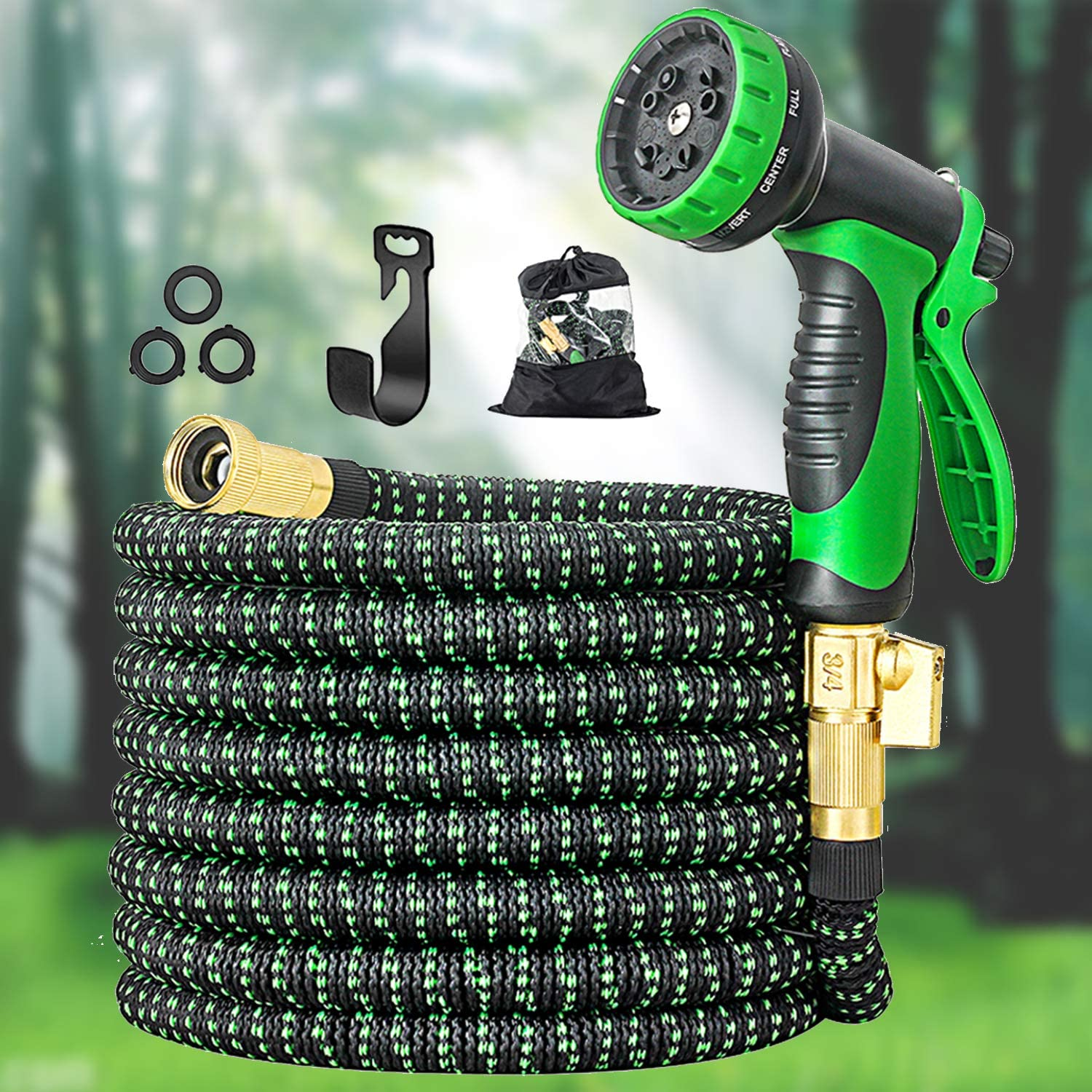 "50FT Garden Hose Expandable Hose, Durable Flexible Water Hose, 10 Function Spray Hose Nozzle, 3/4"" Solid Brass Connectors, Extra Strength 3750d Fabric, Leakproof Lightweight Expanding Collapsible Hose"