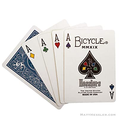 Hesslers Rider Back Playing Cards (Blue), Unique Four-Color Suites (Includes Poker Hand Reference Cards): Sports & Outdoors