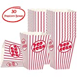 Movie party Popcorn boxes -Striped White and Red popcorn boxes - Great for movie night or movie party theme, theater themed decorations or Carnival party circus box etc.(30 Boxes)