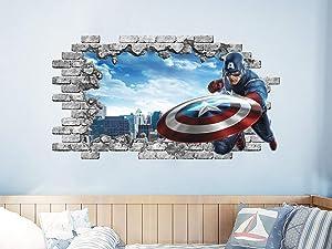 Captain America Wall Sticker 3d Window, Hole in the Decal, Captain America Wall Mural, Peel and Stick, Superhero Nursery Decor C2134