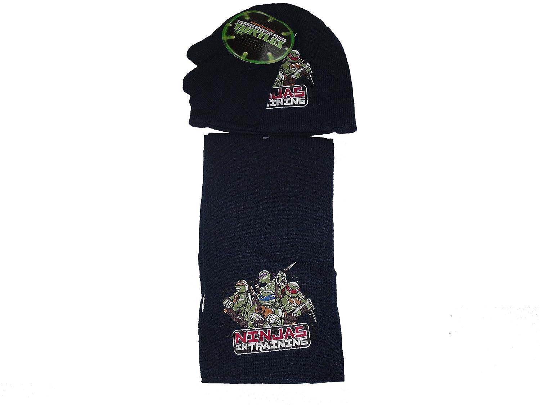 Boys 3 Piece Set Hat Gloves Scarf Teenage Mutant Ninja Turtles 2-8 Years blue)