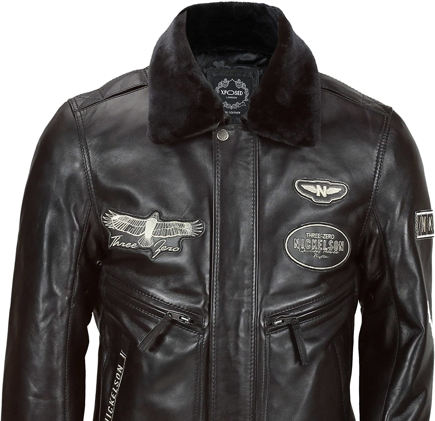 Mens A2 Aviator Air Force Pilot Vintage Black Real Leather Bomber Jacket