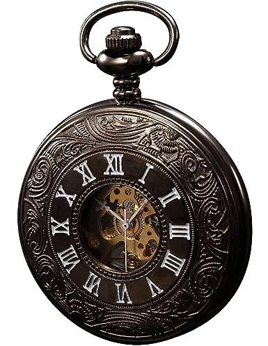 KS Reloj de Bolsillo con Cadena Hombres Vintage Steampunk Esqueleto Mecánico con Caja de Regalo KSP004: Amazon.es: Relojes