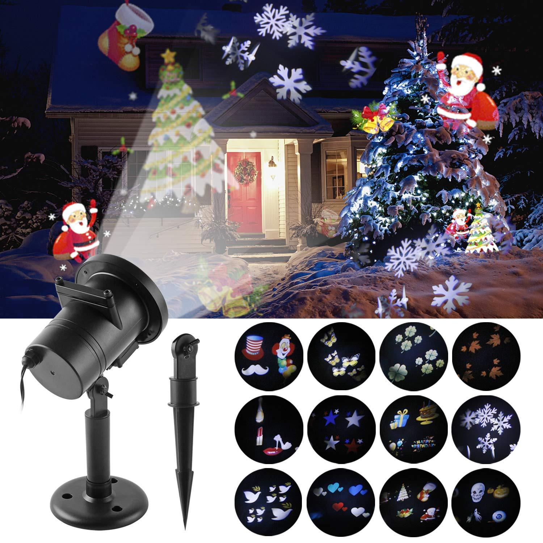 Navidad Proyector LED LED Luz de Proyección Impermeable con 12 ...