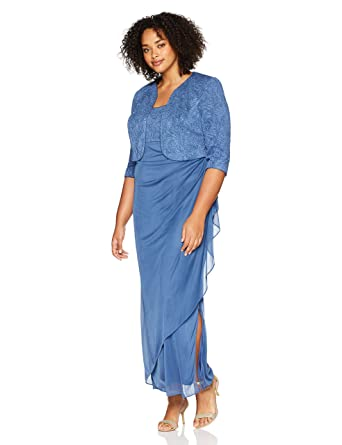 bb90067abf Alex Evenings Women s Plus-Size Lace Bolero Jacket Dress Side Ruched ...