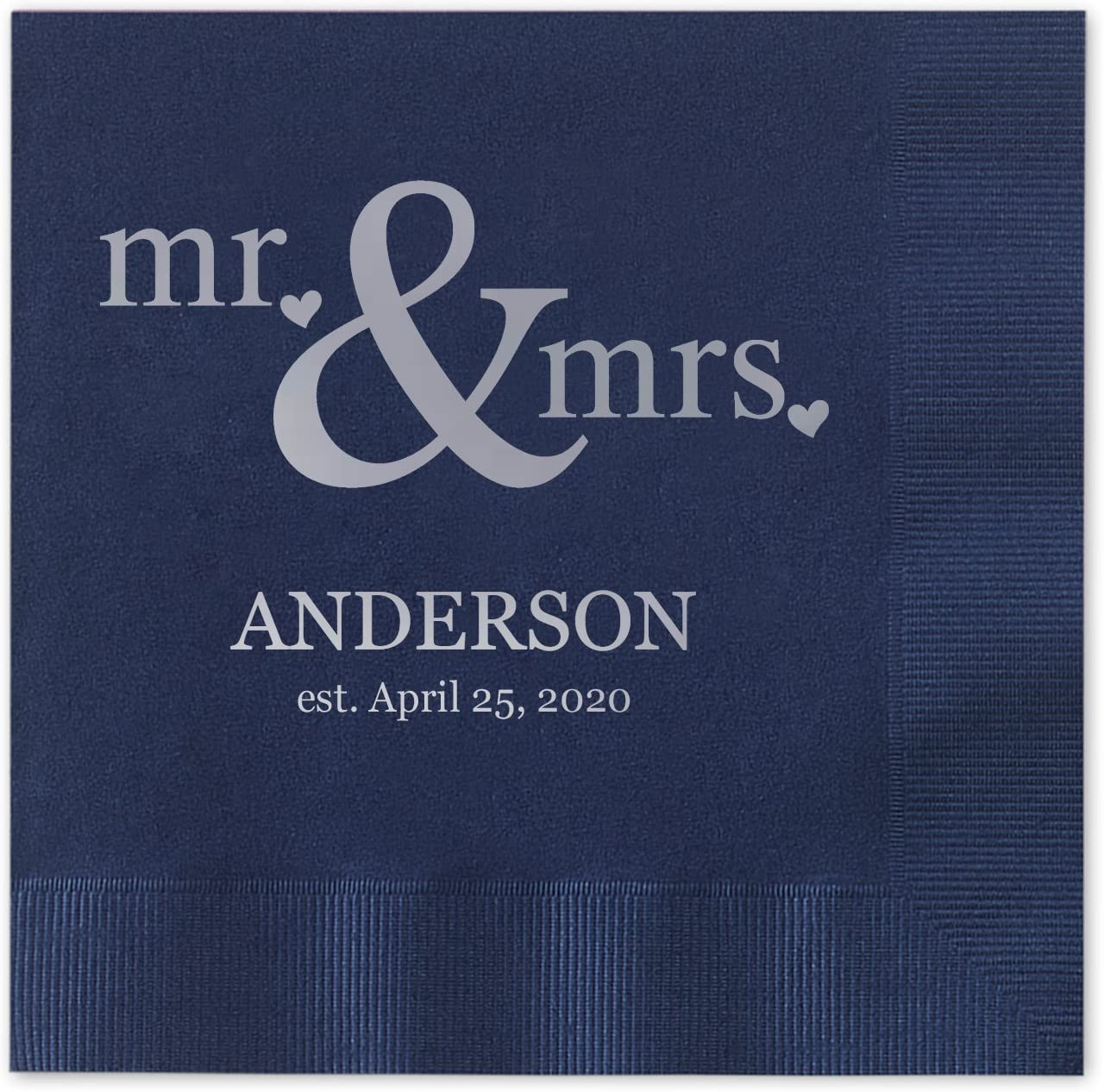 Canopy Street Mr & Mrs Hearts Personalized Beverage Cocktail Napkins - 100 Custom Printed Navy Blue Paper Napkins with choice of foil