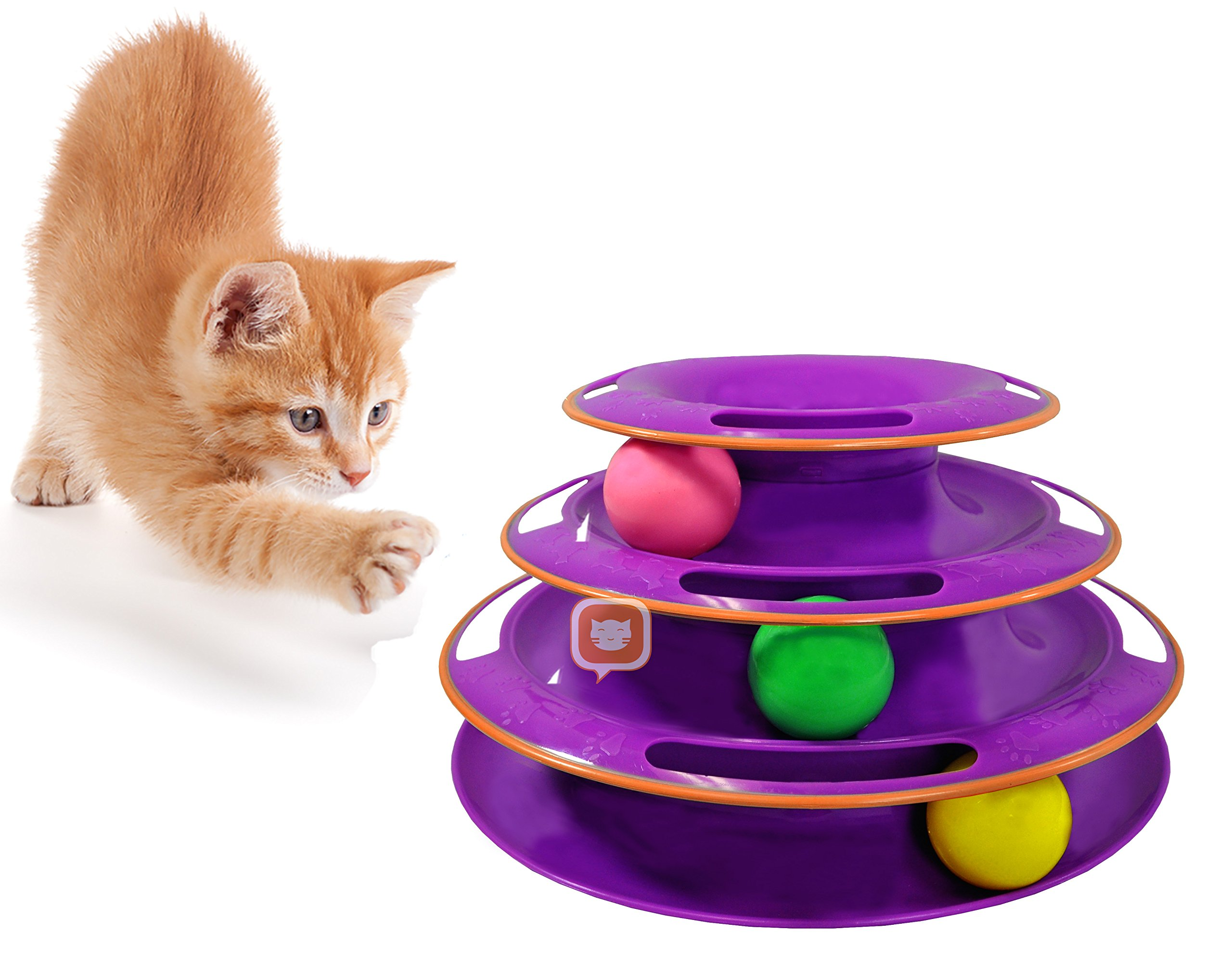 Purrfect Feline Titan's Tower - New Safer Bar Design, Interactive Cat Ball Toy, Exerciser Game, Teaser, Anti-Slip, Active Healthy Lifestyle, Suitable for Multiple Cats (Purple)