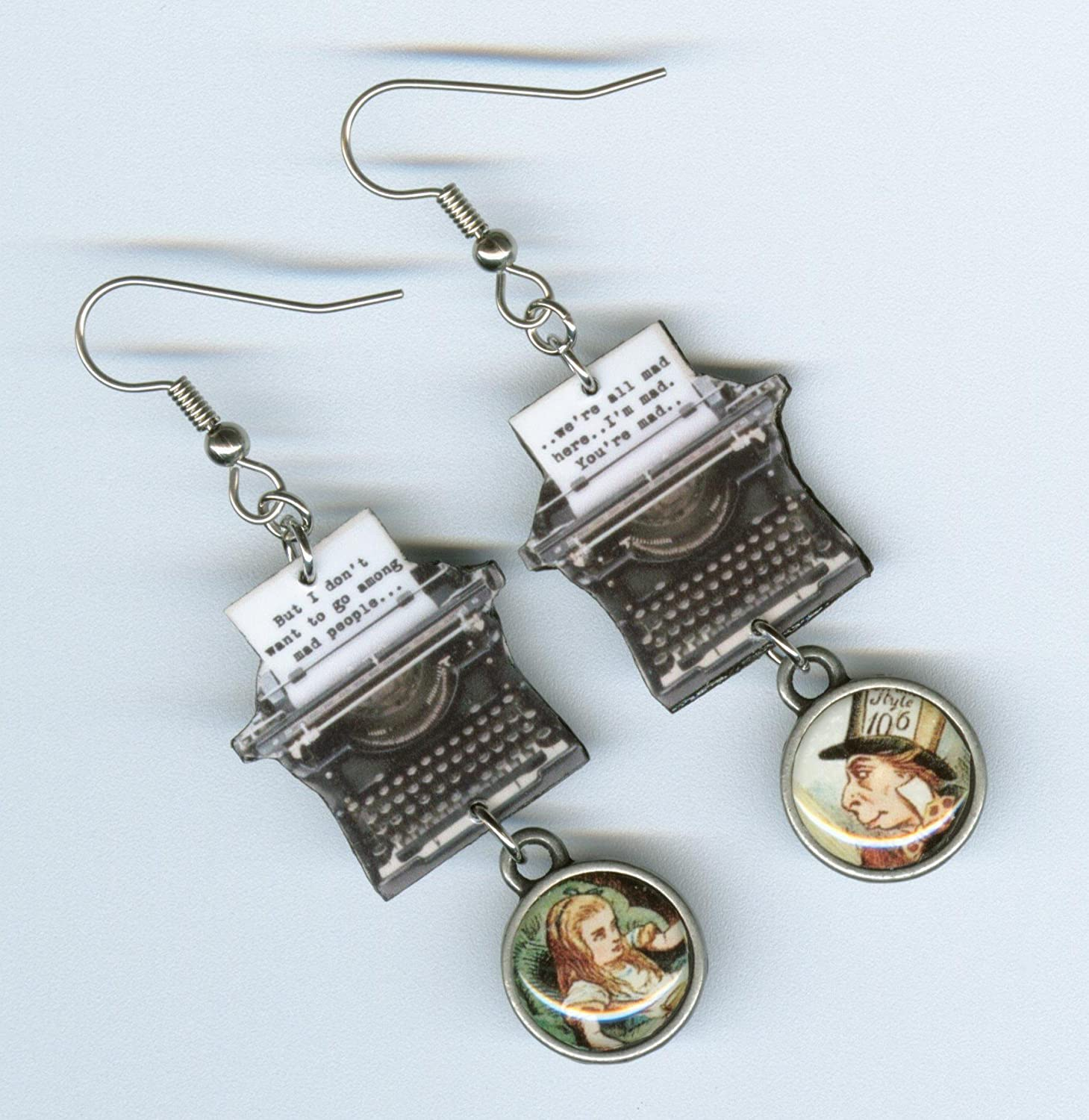 Alice in Wonderland quote earrings mad hatter But I dont want to go among Mad People literary jewelry bookish gift