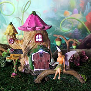 Enchanted Evening Fairy Garden Starter Set with House, Fairy, Supplies and Accessories (with LED Lights)