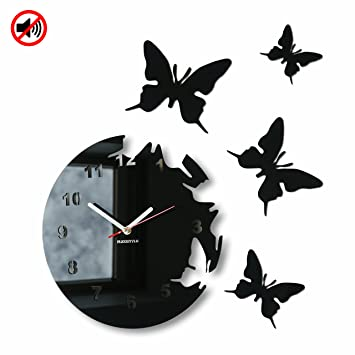 Modern wall clock BUTTERFLIES circular no ticking Black Amazon