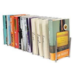 Adjustable Book Holder Bookend Sections Extends Stainless Steel Unique Design (23)