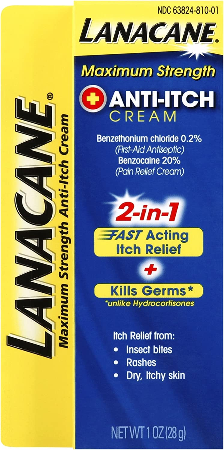 Lanacane Maximum Strength Anti-itch Cream, 1 oz., 2in1 Fast Acting Itch Relief and Kills Germs