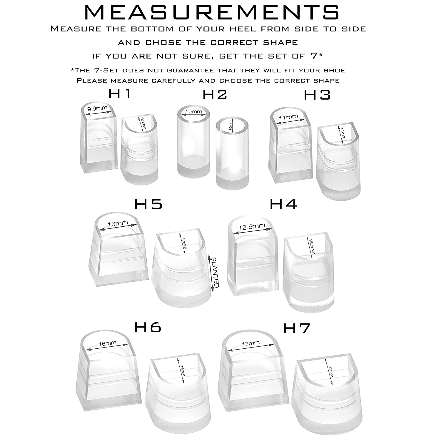 50b3b9909ba00 Heel Hunks Clear-Glass H7 17mm 3-Pairs Heel Protectors Replacement Tip Caps  for High Heel Shoes...