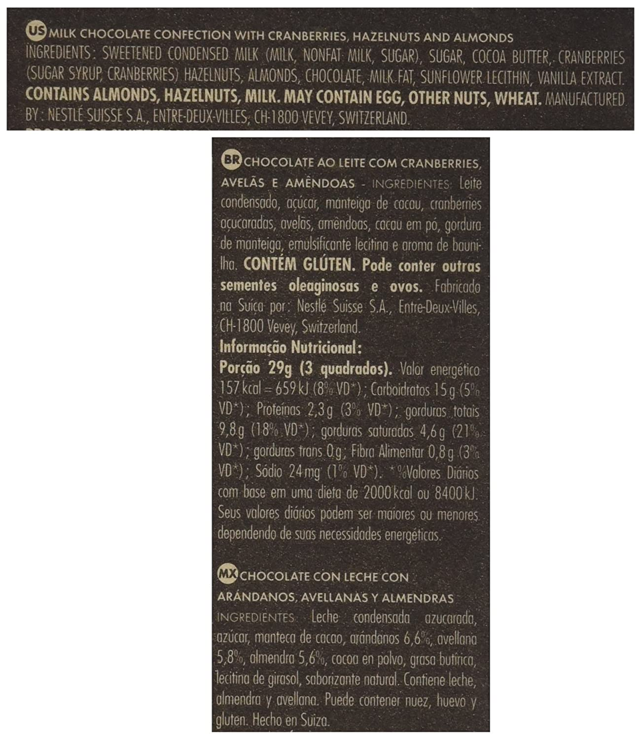 CAILLER LArt Du Brut Milk Chocolate Bar with Whole Almonds, Hazelnuts and Cranberries, 6.87 Ounce