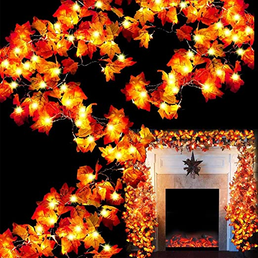 60Ft/120 Led Maple Leaves Garland String Light Thanksgiving Decorations, Waterproof Fall Garland Lights for Indoor Outdoor Thanksgiving Decor Autumn Garland (A.6 Pack Maple Leaf Light G)