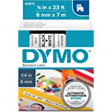 DYMO Standard D1 Labeling Tape for LabelManager Label Makers, Black print on White tape, 1/4'' W x 23' L, 1 cartridge…