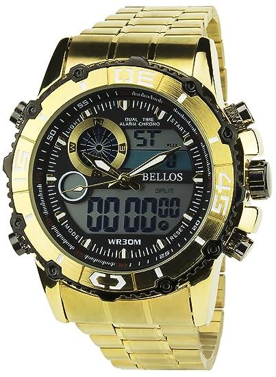 BELLOS -Reloj Hombre Oro Cuarzo Negro caja Acero pantalla analógica-Digital Pulsera Acero Fecha: Amazon.es: Relojes