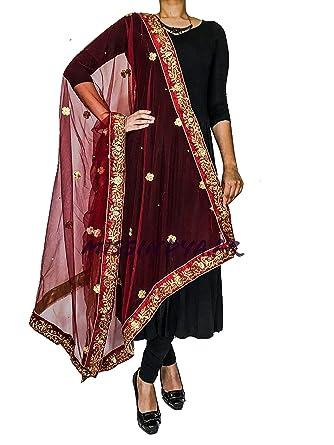 bon marché codes promo grande variété de styles Missindya Dupatta chale etole indienne brodé doré et rouge ...