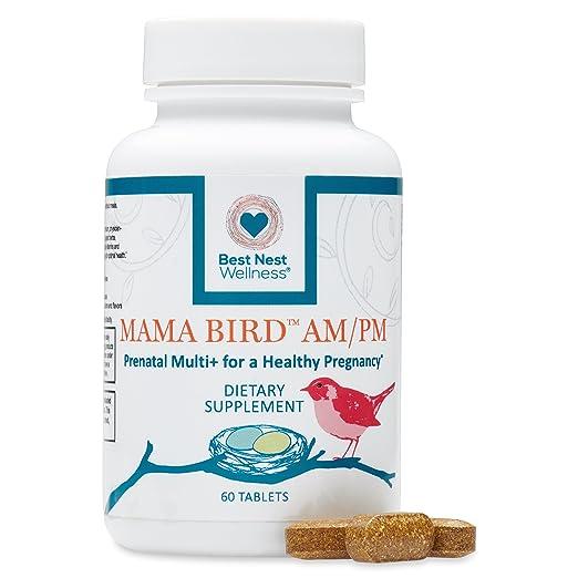 Mama Bird AM/PM Prenatal Multivitamin | Methylfolate (Folic Acid), Methylcobalamin (B12), 100% Natural Whole Food Organic Herbal Blend, Vegan, Twice Daily Prenatal Vitamin, 60 Count, Best Nest…