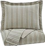 Ashley Furniture Signature Design - Navarre Duvet Cover Set - Includes Duvet & 2 Shams - Queen Size - White/Natural