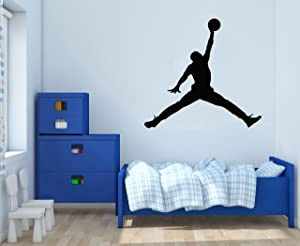 "Jordan Jumpman - Basketball Theme - Wall Decal for Home Nursery Decoration (Wide 30""x28"" Height Inches)"