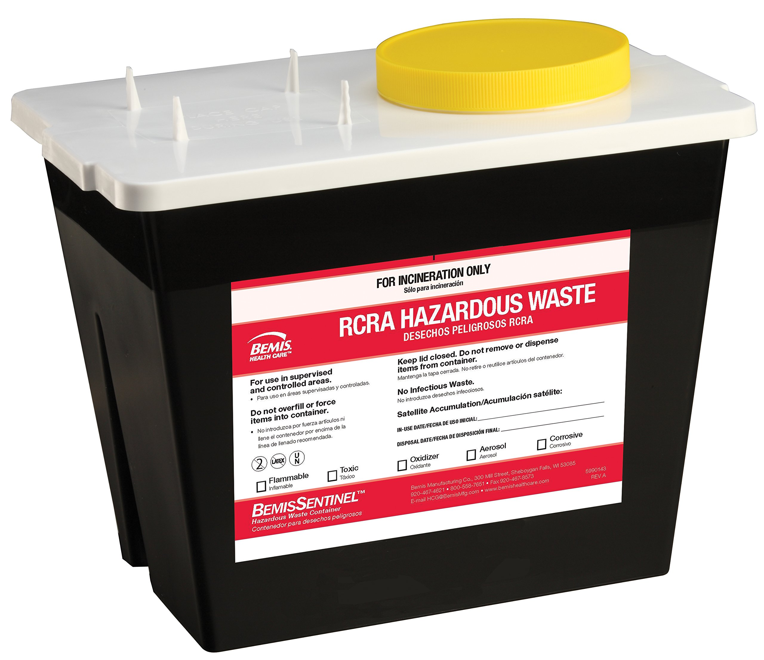 Bemis Healthcare 5002070-5 2 gal RCRA Hazardous Chemical Waste Container, Black (Pack of 5)