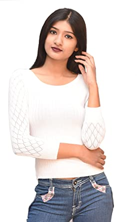 a32c833ba5e9e3 Otia Women's Woolen 3/4 Sleeve Pullovers for Top and Saree (White, Free