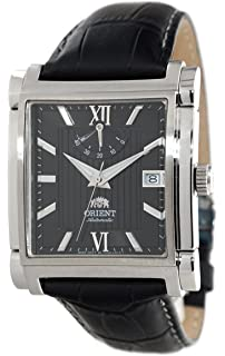 ORIENT Classic Automatic Power Reserve Black Dial Rectangular Dress Watch FDAH004B