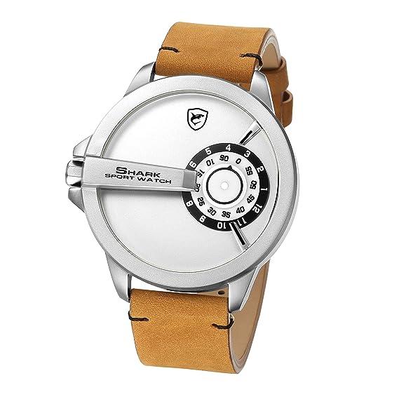 Shark Reloj Deportivo para Hombres, Banda de Cuero Sin diseño de Mano Cosa análoga Cuarzo