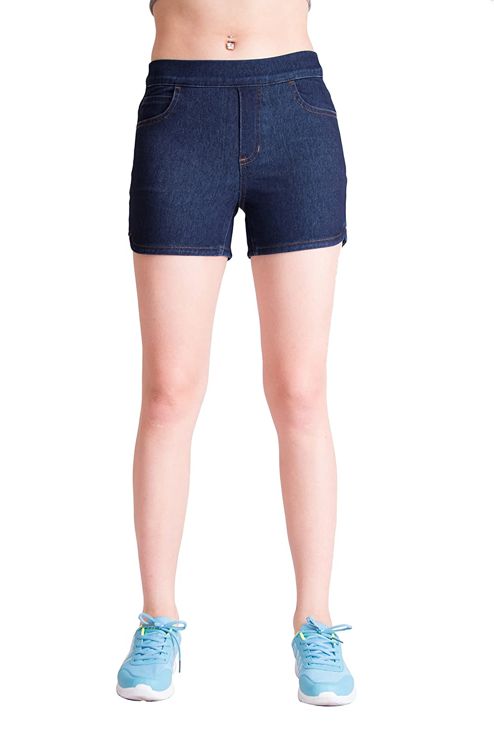 a0ec0441dd6  MATERIAL AND FEATURES  75% Cotton 23% Polyester 2% Spandex Super Soft Knit  Denim. The COZY BLUE SHORT is one of the kind denim short without metal  button ...