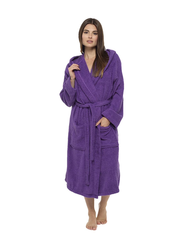 Ladies Robe Luxury Terry Towelling Cotton Dressing Gown Bathrobe ...