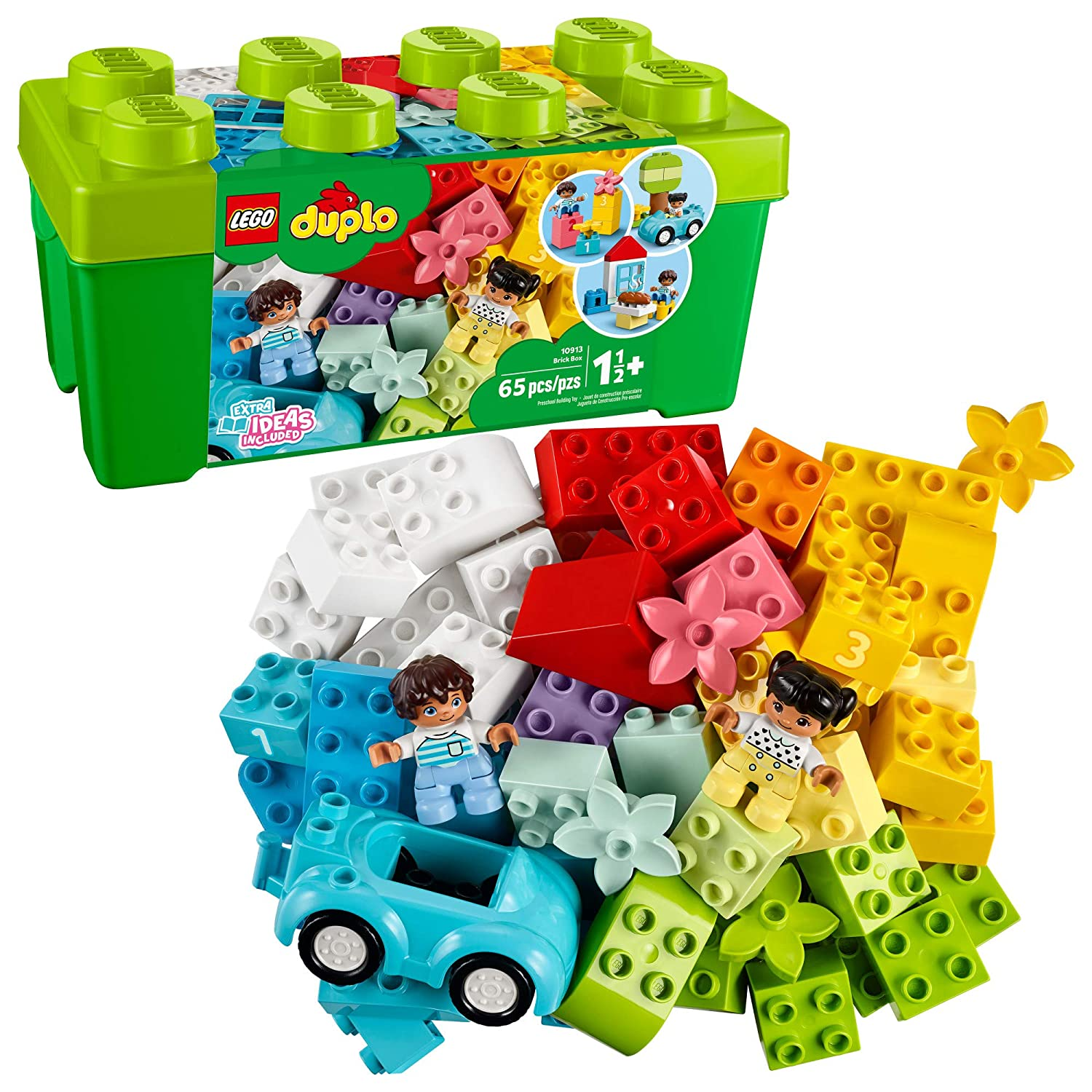 LEGO DUPLO Classic Brick Box 10913 First Set with Storage Box, Great Educational Toy for Toddlers 18 Months and up, New 2020 (65 Pieces)