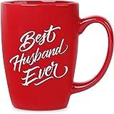 Best Husband Ever - 14 oz Red Bistro Coffee Mug - Best Gift Ideas for Husband Him - Birthday Christmas Valentines…