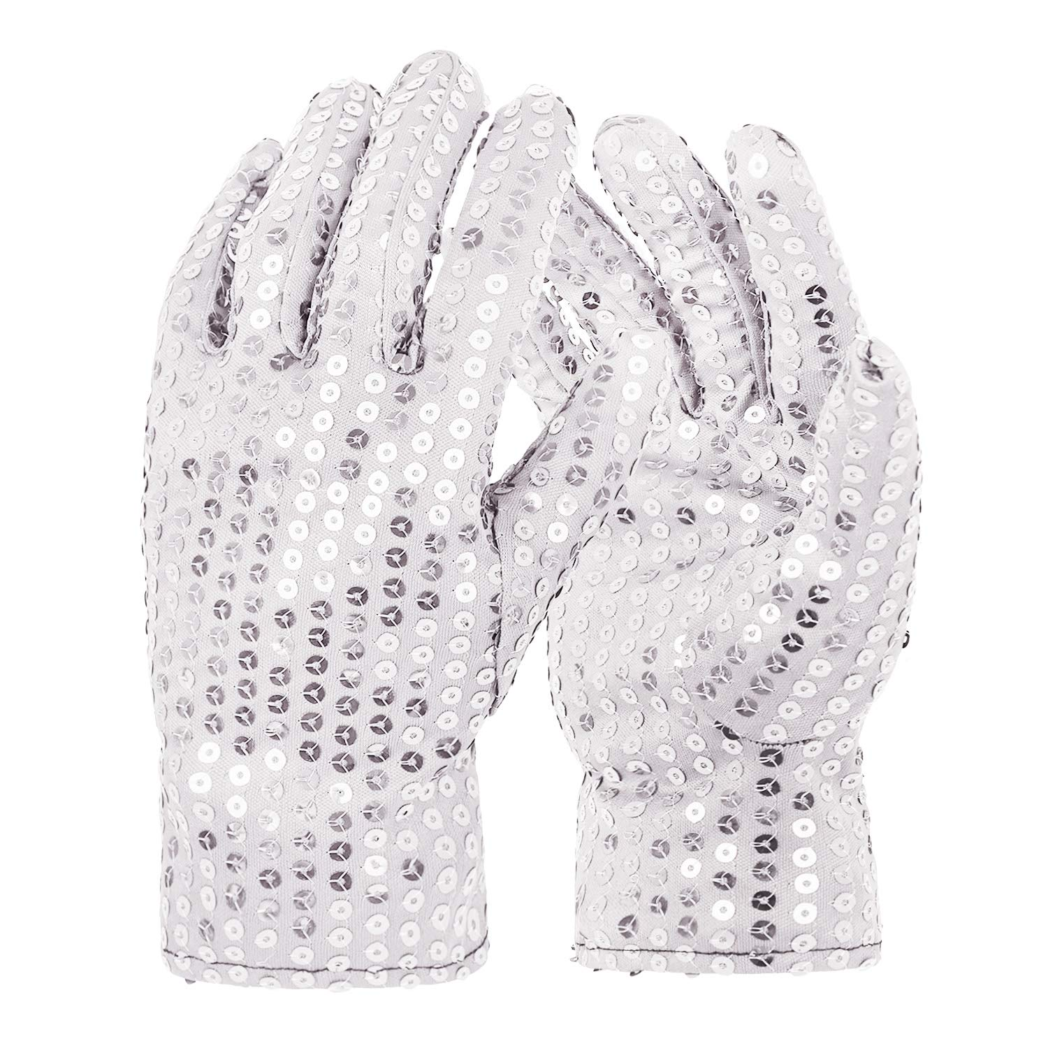 Michael Jackson Costume Gloves Dress up Dance Sequin Gloves Cosplay Party Dance Halloween, Adult Size (Silver)