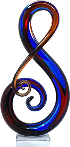 Luxury Lane Hand Blown Treble Sommerso Art Glass Sculpture 16 inch Tall